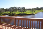 This Pelican Creek balcony has views of the golf course and it's spectacular water features